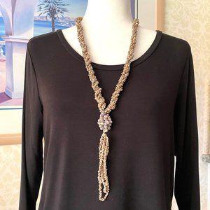 "Sea Shell Artisan Necklace Dangle Handmade 21"""